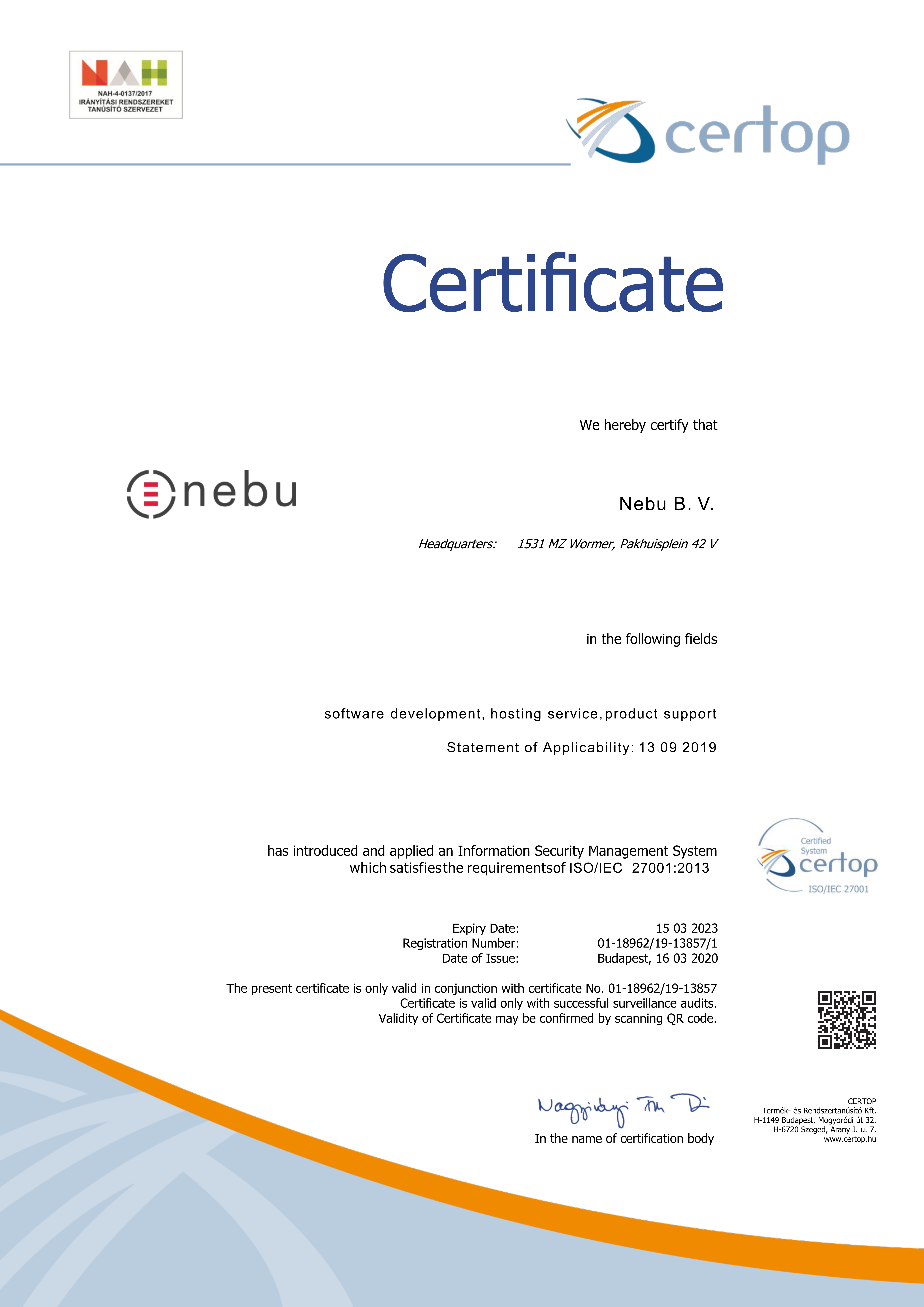 Nebu BV is an ISO 27001 Certified Company