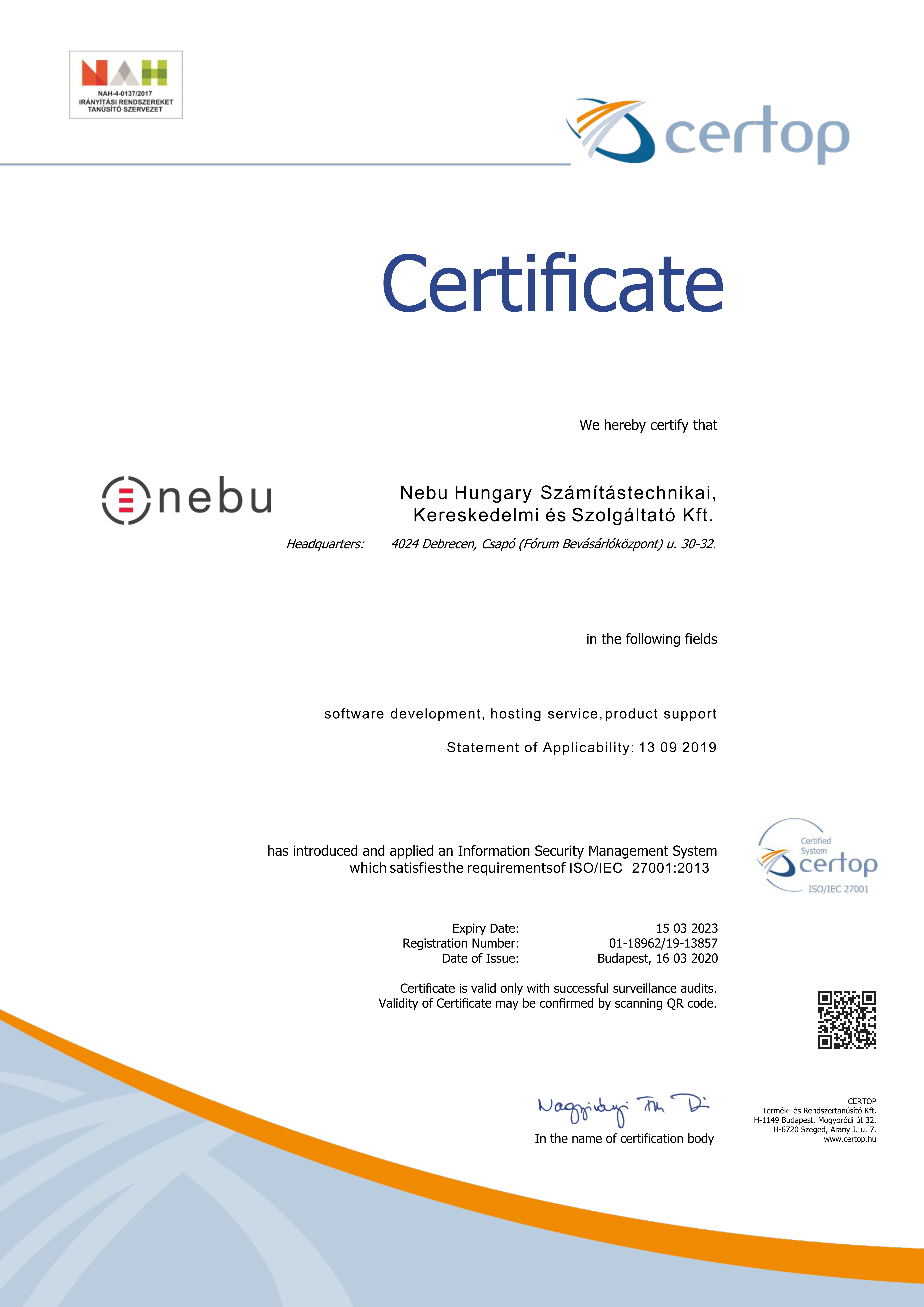 Nebu Ktf. is an ISO 27001 Certified Company