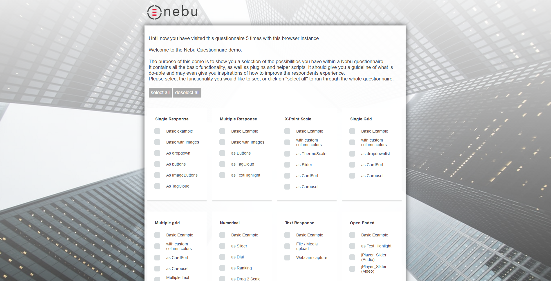 Experience the possibilities of a Nebu Questionnaire