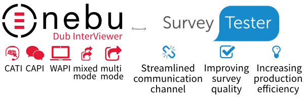Nebu Dub InterViewer integrated with SurveyTester to help you get even more efficiency gains