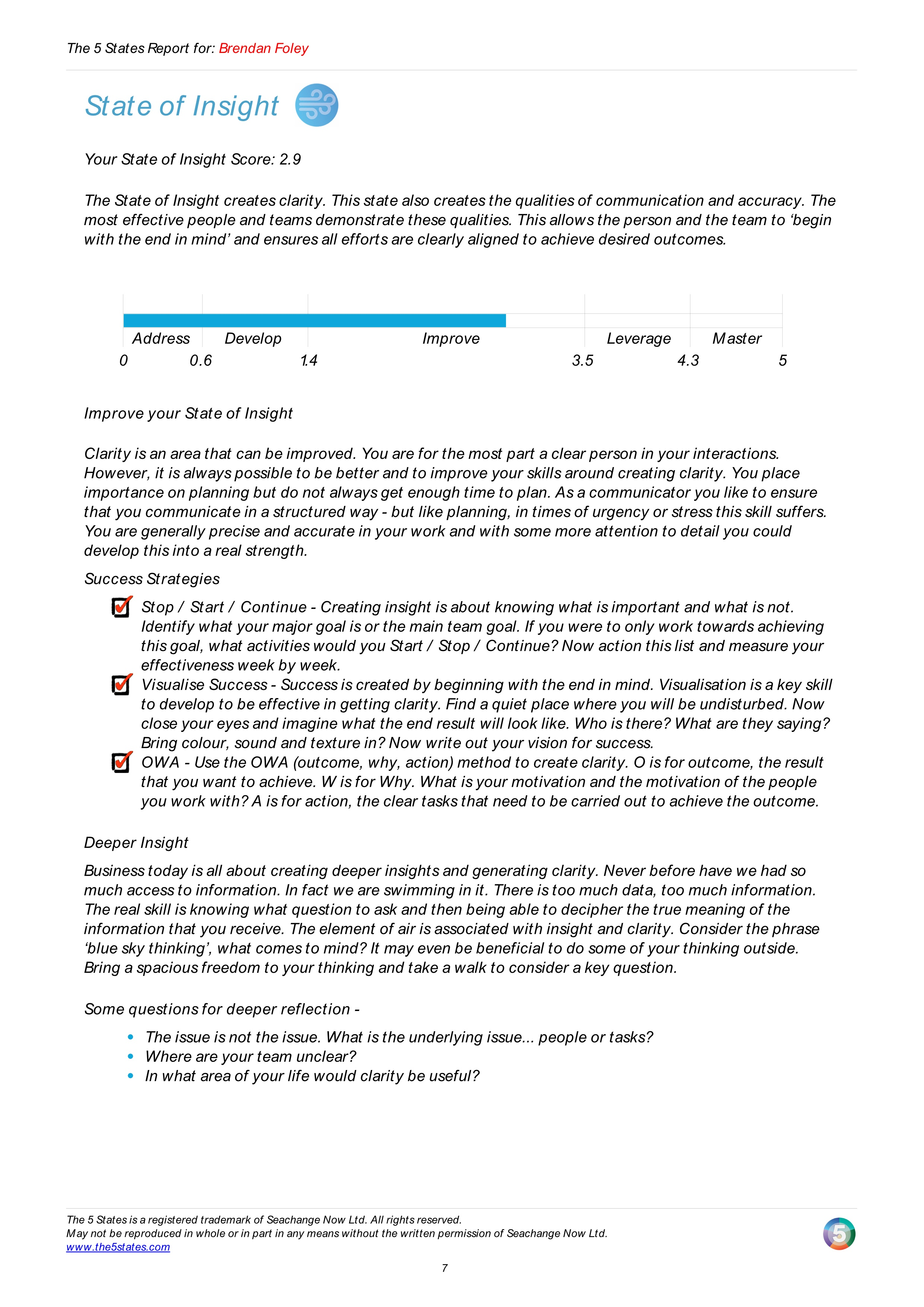 A State of Insight page of an automatically report generated for 5 States of Success